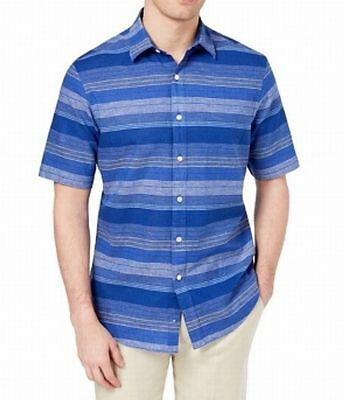 9f55bd4bb Club Room Men's Short-Sleeve Stripe Button-Down Shirt, Blue Multi, ...