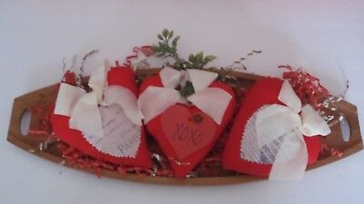 Primitive Valentine's Day Red Heart Bowl Filler Size 6 In (Ivory Bow=Paperinsert