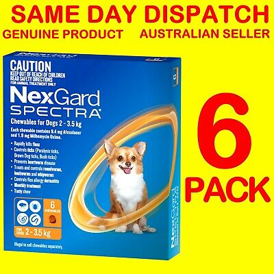 NexGard Spectra ORANGE 2-3.5kg 6 PACK Flea, Ticks, Heartworm, Intestinal Wormer