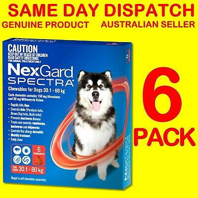 NexGard Spectra Red 30.1-60kg 6 PACK Flea, Tick, Heartworm, Intestinal Wormer