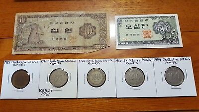 7pc REPUBLIC OF SOUTH KOREA Coin & Banknote Lot 10 50 100 Hwan Won Jeon UNC Asia