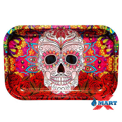 RYO SUGAR SKULL Cigarette Tobacco Metal Medium Rolling Tray 11x7