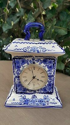 Blue And White Delft Style Floral Mantle Clock