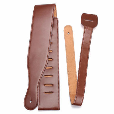 Brown Adjustable Soft PU Leather Guitar Strap Belt for Electric Acoustic Bass