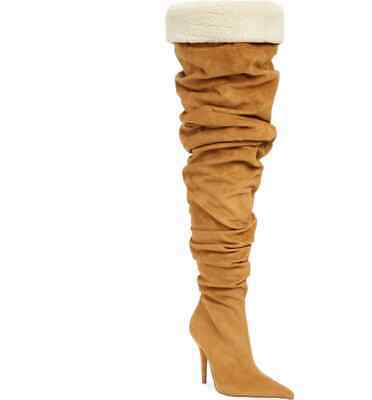 f27ce45a5c1f Jeffrey Campbell Womens Igloo Tan Suede Thigh High Pointed Toe Dress Boot
