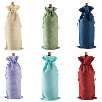 Red Wine Bottle Cover Bag Drawstring Burlap Bag Packaging Table Ornaments Gift