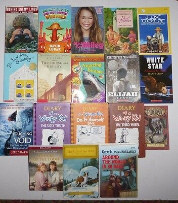 Lot of 18 Childrens Books,Wimpy Kid,Jules Verne,Narnia,Jack London,American Girl