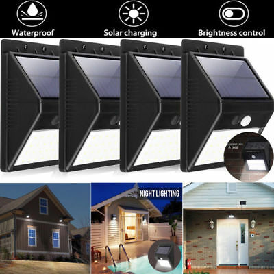 4x 30LED Solar Power PIR Motion Sensor Wall Light Outdoor Waterproof Garden Lamp