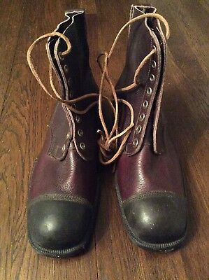 Vintage Men's Size 44 NOS Dated 1940 WWII WW2 Swedish (?) Combat Cap Toe Boots
