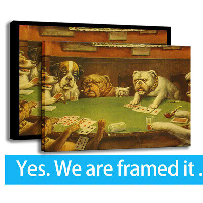 Modern HD Print Canvas Art Painting Dogs Playing Poker Wall Decor Framed