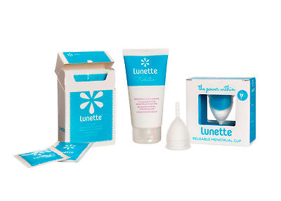LUNETTE Deluxe Pack Menstrual CUP Silicone 2x Reusable Pads 10x wipes 250ml wash