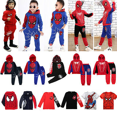 Spiderman Kid Toddler Boy Tracksuit Hoodie Joggers Sweatshirt Clothes Outfit Top