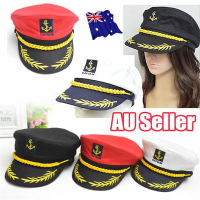 Unisex Sailor Ship Yacht Boat Captain Hat Navy Marines Admiral White Gold Cap FO