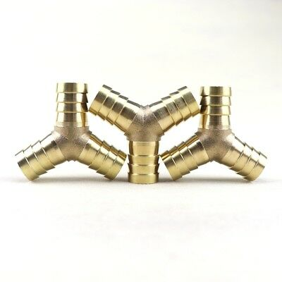 3Pcs Y-3 Way Brass Hose Barb Fitting Pipe Tubing Splicer Fuel Water Gas Air 5/8""