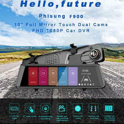 "1080P Android 10"" Car DVR Rear View Mirror Dual Lens Monitoring Recorder Camera"