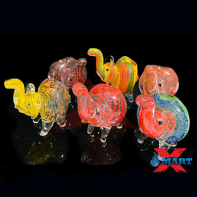 "4"" Elephant Striped Swirl Hand-Blown Glass Collectible Tobacco Hand Pipe"