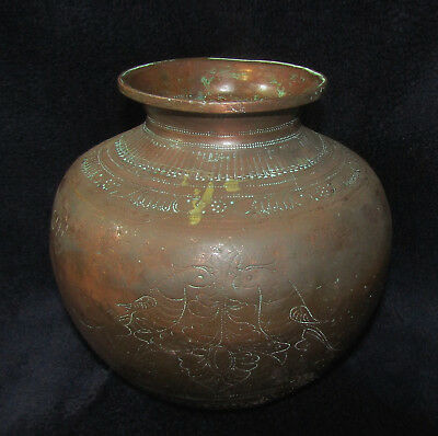 "OLD COPPER POT W/ PARROTS India Sanskrit? Writing 7"" T x 7"" W Heavy Patina Lota"
