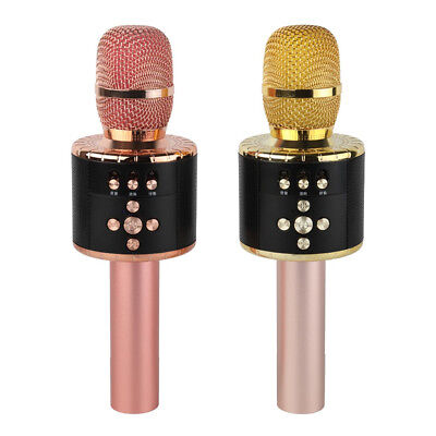 Wireless Karaoke Mic with Multi color LED Lights 4-in-1 Portable Handheld Sing