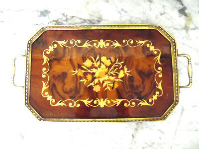 Stunning High Gloss Italian Wood Marquetry Brass Side Handle Serving Tray Italy
