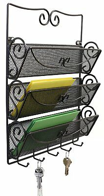 WALL MOUNT 3 TIER Letter Rack Key Holder Home Office Metal Organizer Mail Store