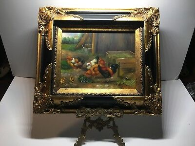 A. Vianni Rooster And Chickens Feeding Art Painting On Wood + Framed