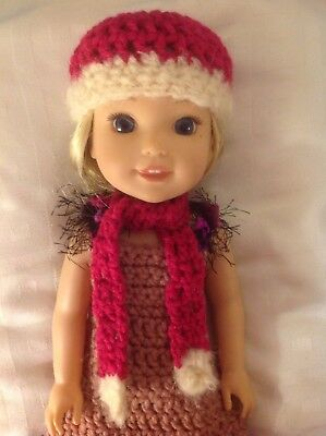 Wellie Wishers bright pink scarf/hat beanie American Girl 14 doll clothes outfit
