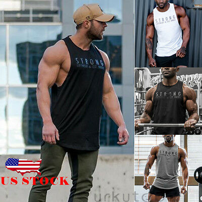 US STOCK Mens Fitness Activewear Tops T-Shirt Gym Bodybuilding Muscle Tee Vests