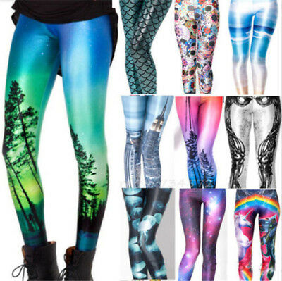 Women's Punk YOGA GYM Graphic 3D Sexy Galaxy Leggings Funky Pants Jeans