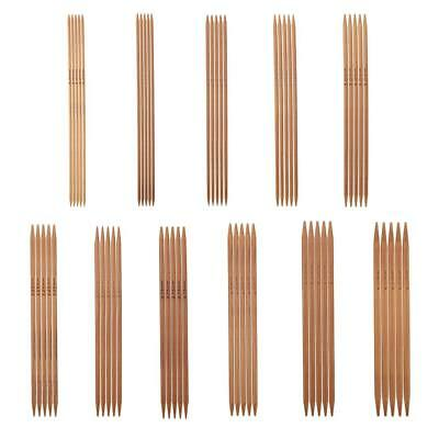 "55pcs 5"" Carbonized Bamboo Knitting Needles Set Double Pointed 11 Sizes 2mm-5mm"