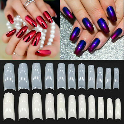 550Pcs Full Cover Clear White Natural French False Acrylic Nail Art Tips UV Gel