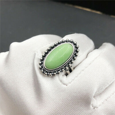 Women 925 Silver Plated Finger Ring Wedding Jewelry Green Stone Size 6-10 Gift