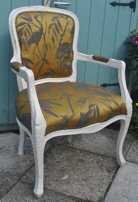 French Louis XV Fauteuil Upholstered Open Armchair