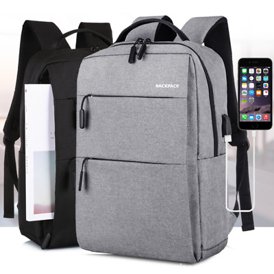 Mens Black Anti-theft School Backpack Laptop Travel Bag With USB Charging Port