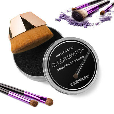 Women Makeup Brush Sponge Cleaner Remover Switch Eye Shadow Color Dry Clean Box