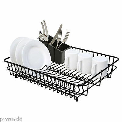 Delfinware Large Plastic Coated Black Dish Drainer & Cutlery Basket Sink Rack