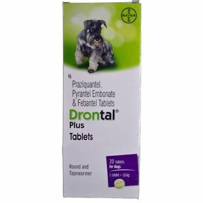 Bayer Drontal Plus  Roundworm and Tapewormer For Dog 20-60 Tablets Box free