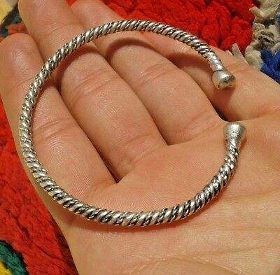 ancient Viking twisted Silver bracelet with Silver balls in the terminals