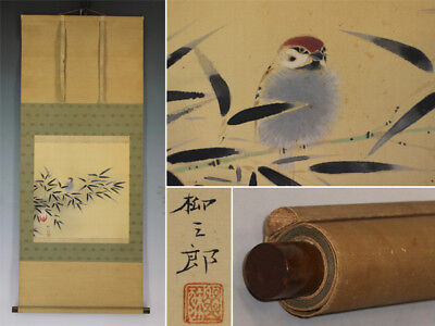 HANGING SCROLL JAPANESE PAINTING JAPAN BAMBOO SPARROW ORIGINAL VINTAGE ART 371i