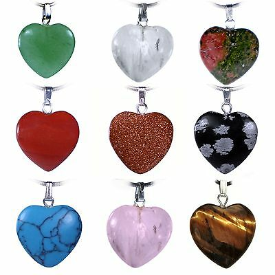 Heart Pendant Gemstone Heart Amulet with Silver-Plated Eyelet Various Variations