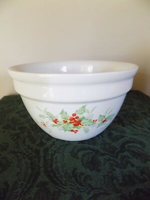 Vintage Hall China Christmas holly berries Mixing Serving bowl Farm Country Home