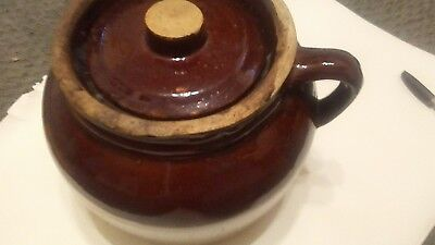 Vintage Robinson Ransbottom Bean Pot Blue Crown # 3 Crock with lid