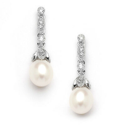 Mariell Freshwater Pearl and CZ Drop Earrings, Great for Brides or Bridesmaids