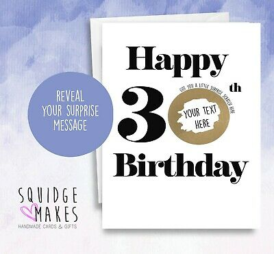 Personalised Birthday Scratchcard age milestone* Gift Surprise Reveal * Scratch
