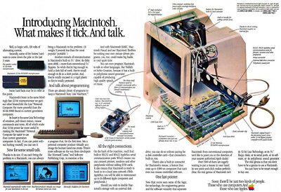 """1984 Apple Computer Print Ad """"Introducing Macintosh. What makes it tick."""""""