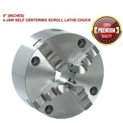 """8"""" 4 Jaw Self Centering Scroll Lathe Chuck Ground Working Surfaces Sustained"""