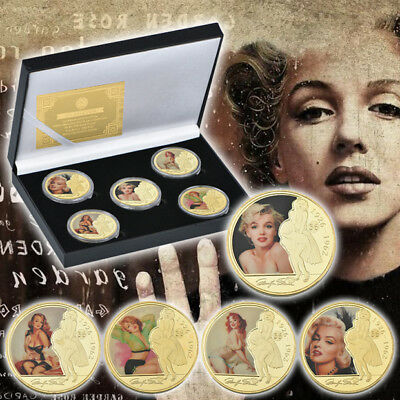 WR Colored Marilyn Monroe Gold Plated Coin Set In Gift Box Portraits Souvenir
