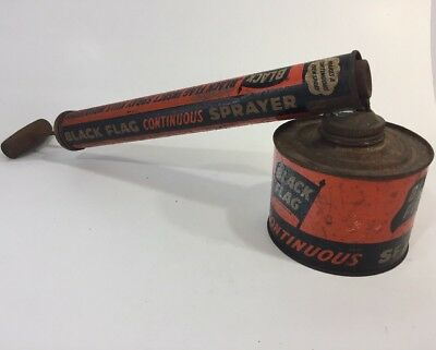 VTG 1950s Black Flag Insecticide Sprayer W/ Wooden Handle for Camp Oil Tin Can