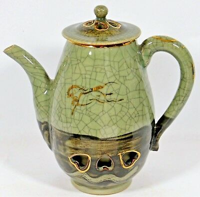 Somayaki Coffee Pot Gold Horse Double Wall Soma Ware Green Crackle Japan