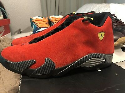 newest e9055 ad297 Nike Air Jordan Retro 14 Shoes Men XIV Ferrari Black Red 654459 670 Size 13