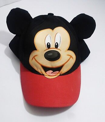Disney Store Red and Yellow Mickey Mouse Snap-back Baseball Cap Hat Ears - Youth